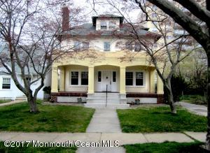 Stately 1920 home in northeast section of Asbury on a quiet tree lined street. Legal 1 bedroom third floor apartment with a separate entrance, easily integrated back to the main house from a locked entrance on the second floor. Over sized living and dining room plus bonus room on the first floor that was used as a den. Full height basement, electrical and plumbing updated. Roof recently replaced. Views of Deal Lake. Just waiting for a new owner to put their stamp on this spacious home.
