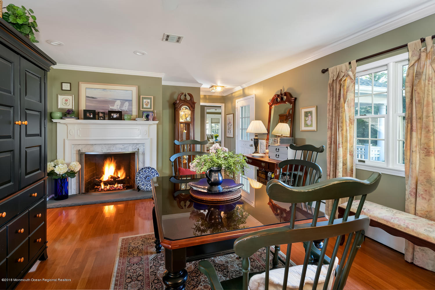 Dining Room with gas fireplace