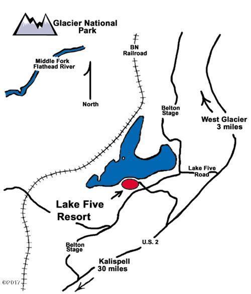 Lake Five Resort, Access Map