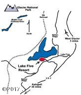 Lake Five Resort, Access Map
