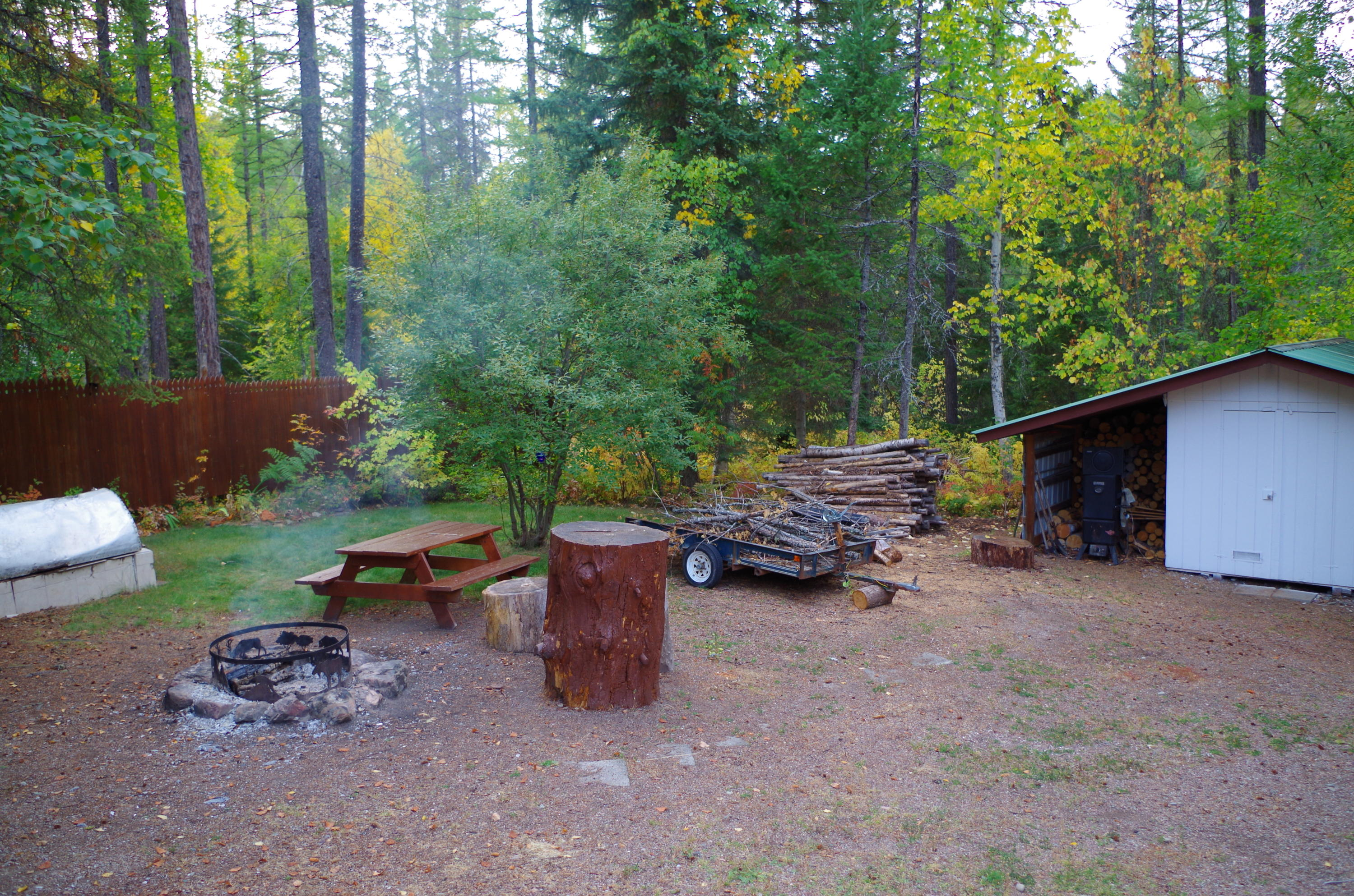 Firepit and wood shed