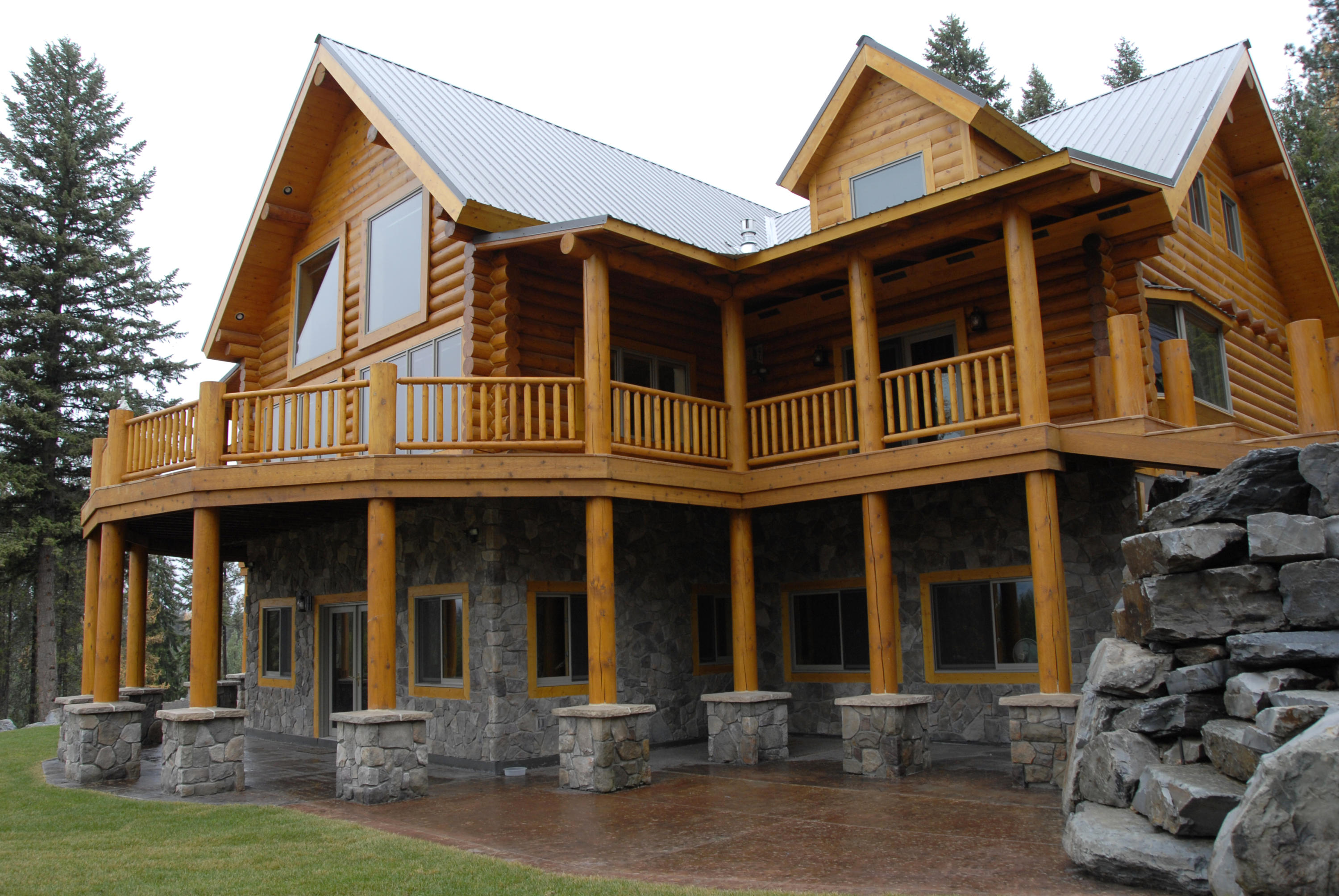 Custom built log home