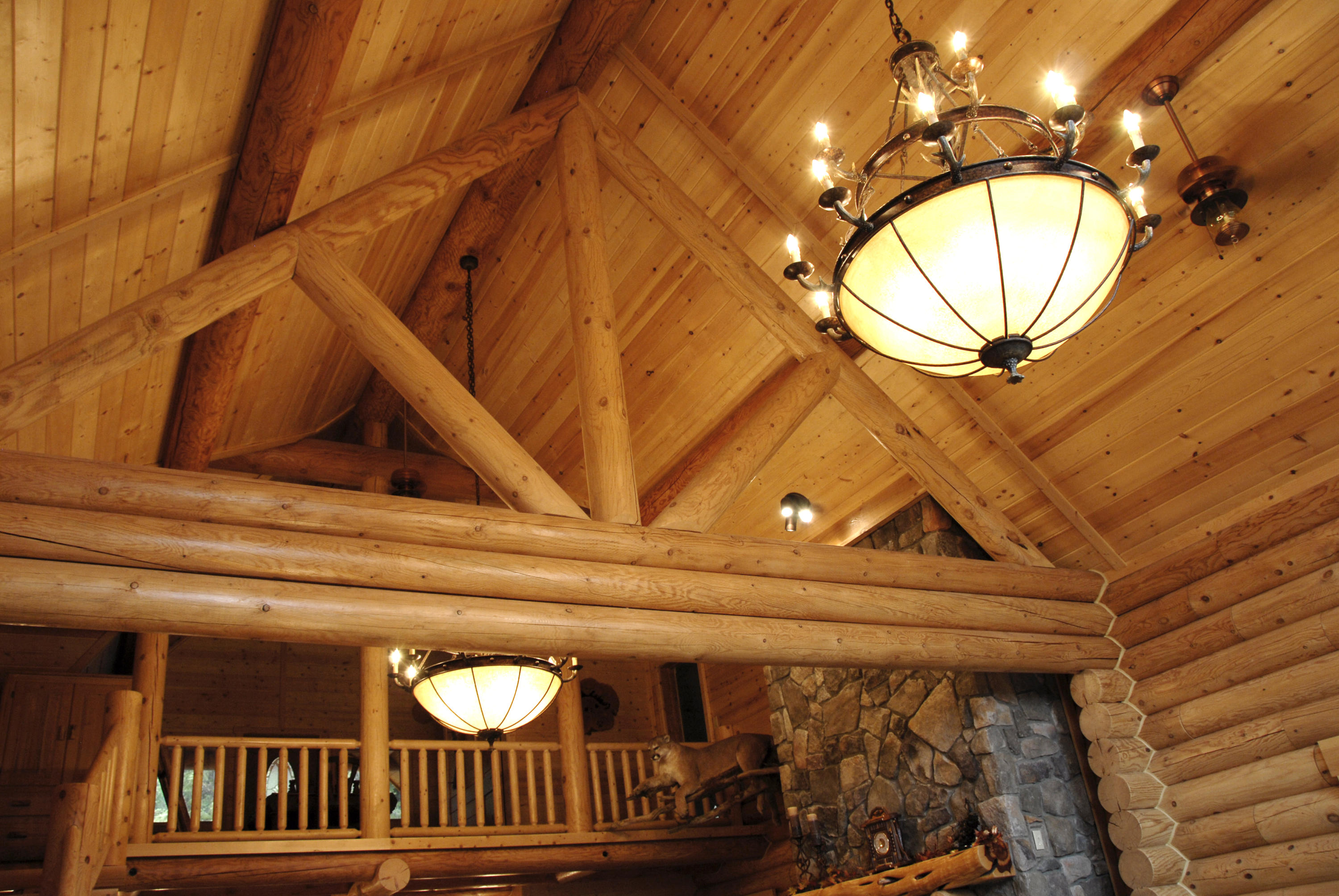 Chandelier & custom log work