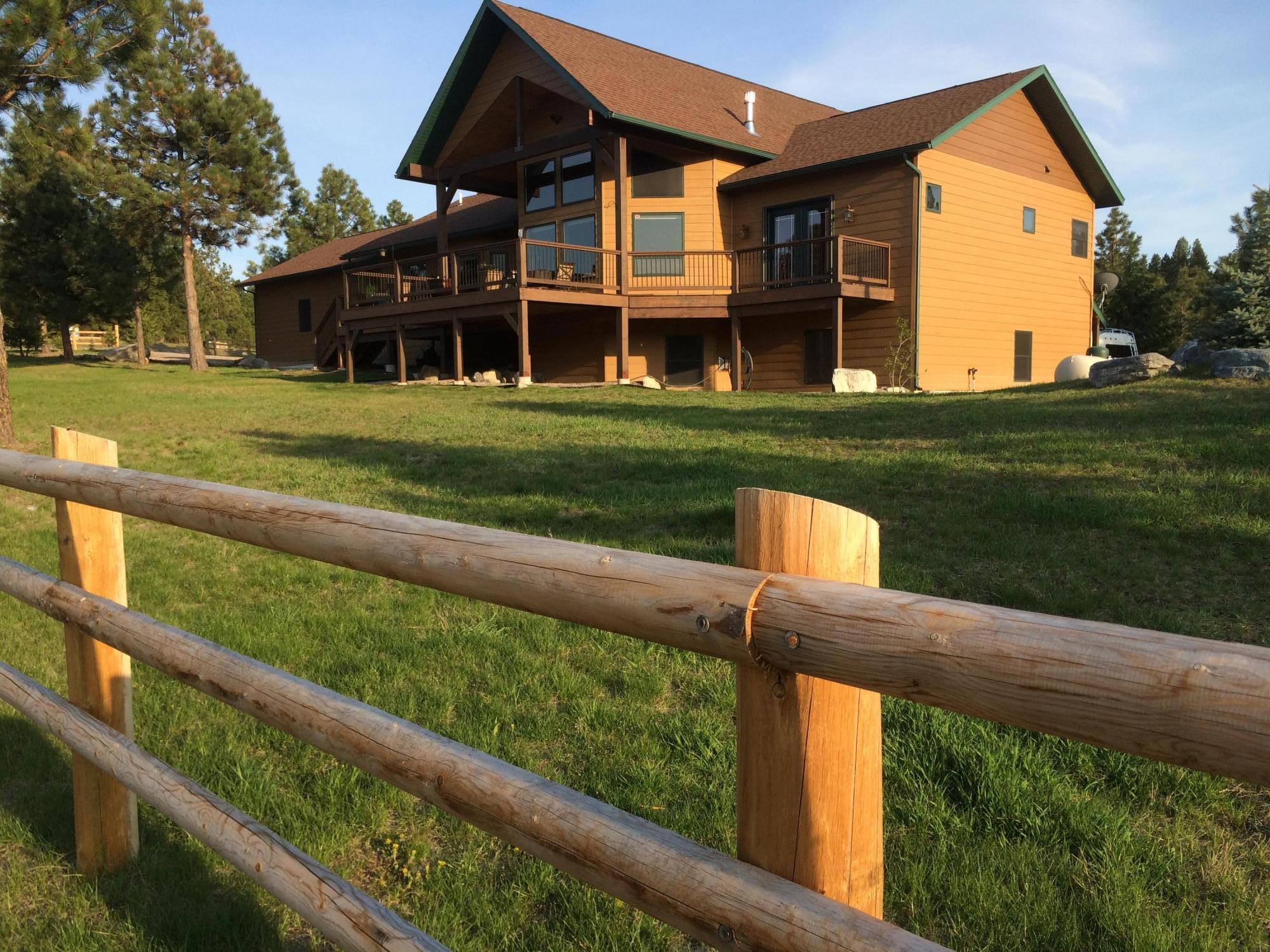 log fence & house