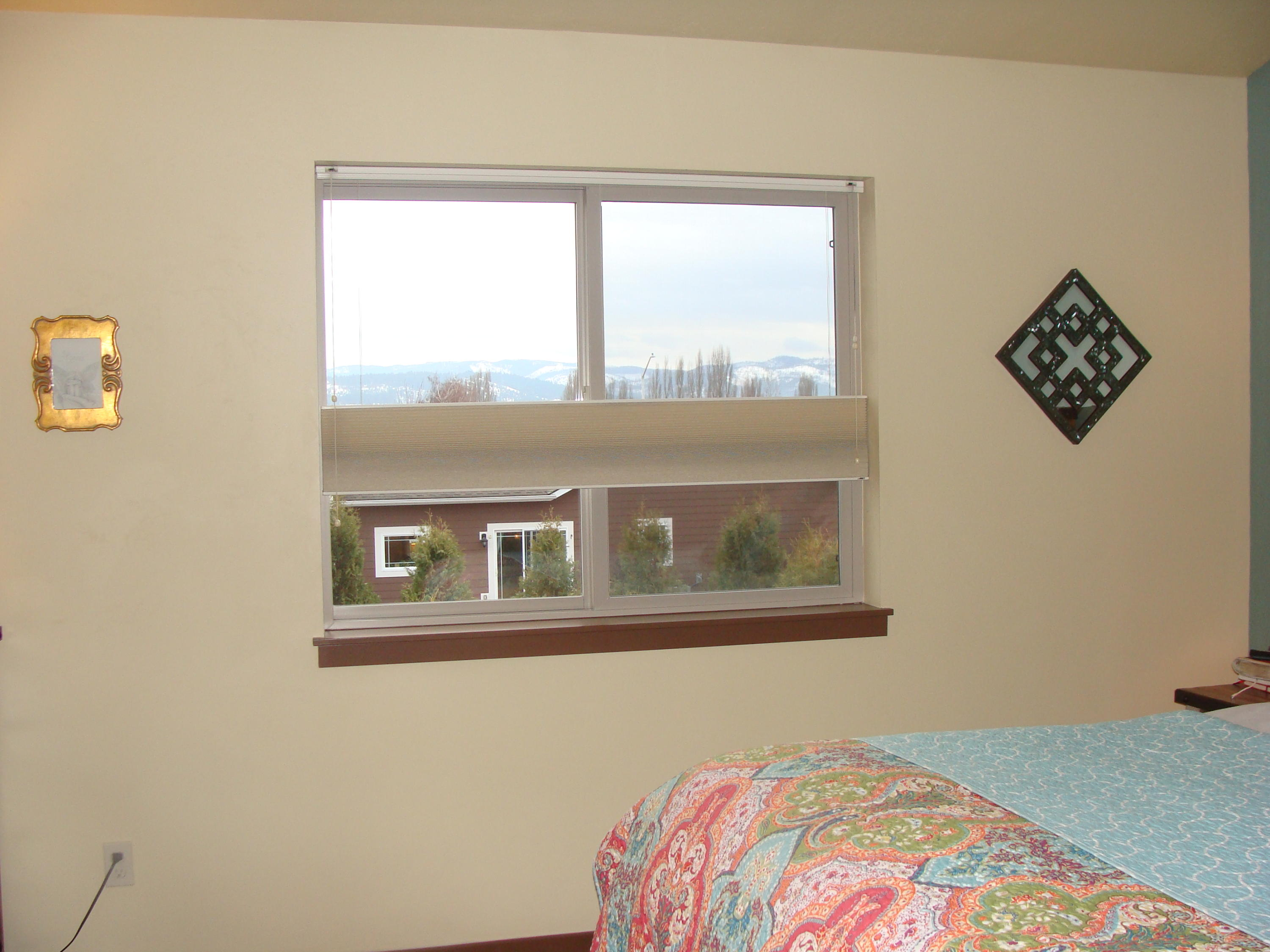 Master bedroom view and blackout blinds