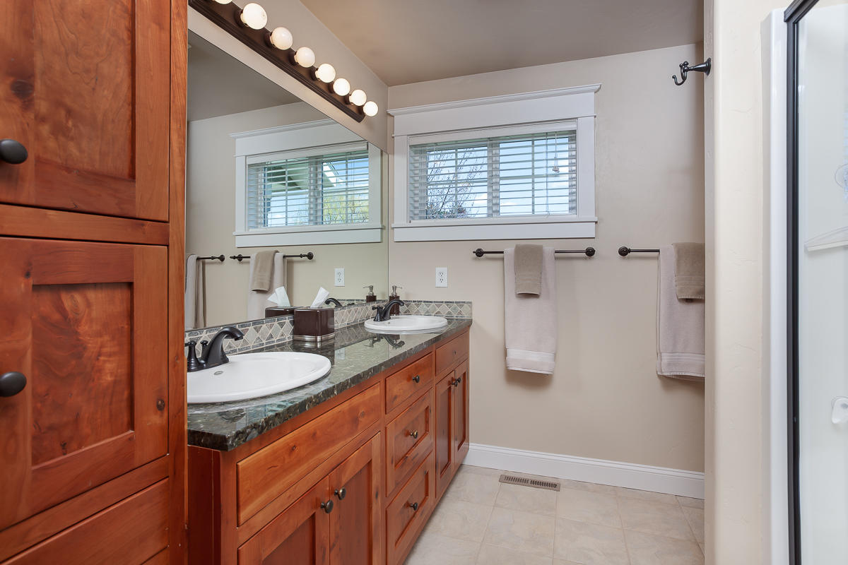 Master Bath with cherry cabinets