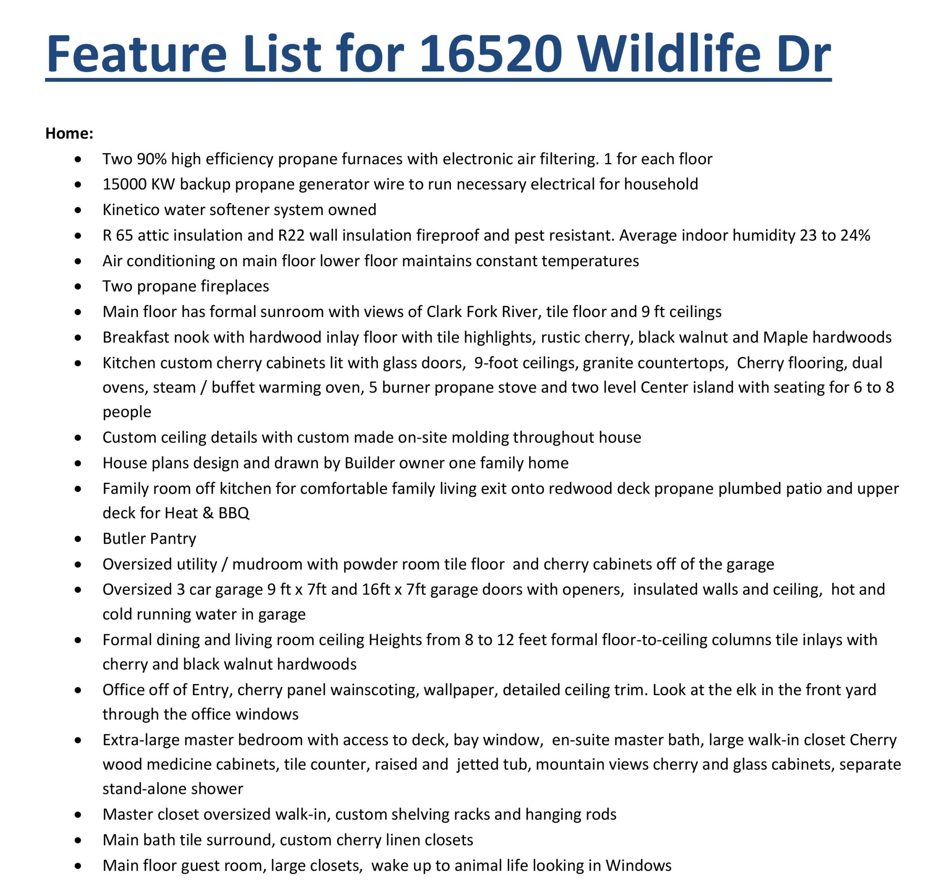 Feature List for 16520 Wildlife Dr. pg2