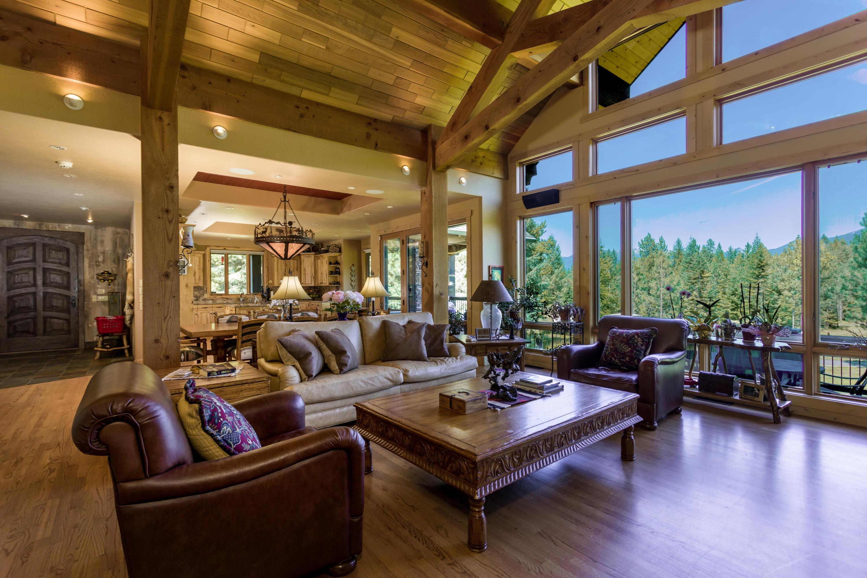 Rustic ceiling timber trusses
