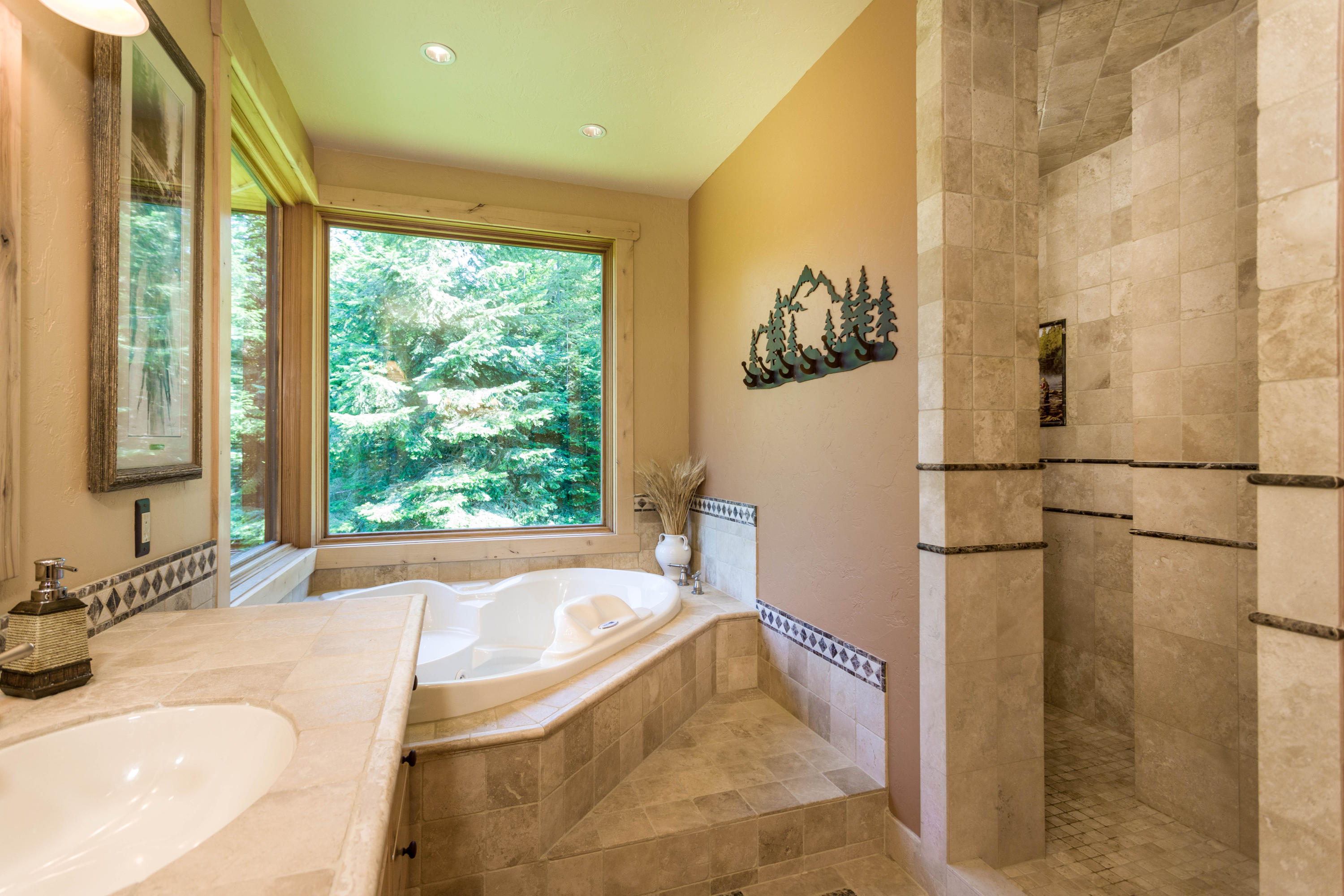 Jetted tub & walk in tile shower