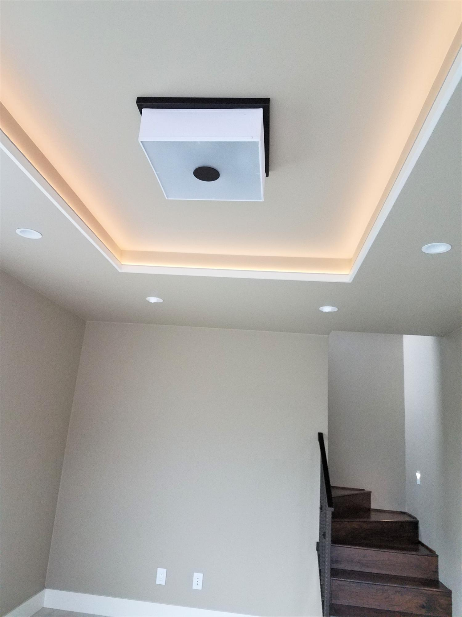 Coffered ceiling in living area