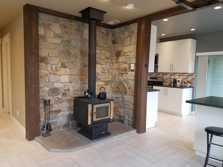 Wood stove & kitchen