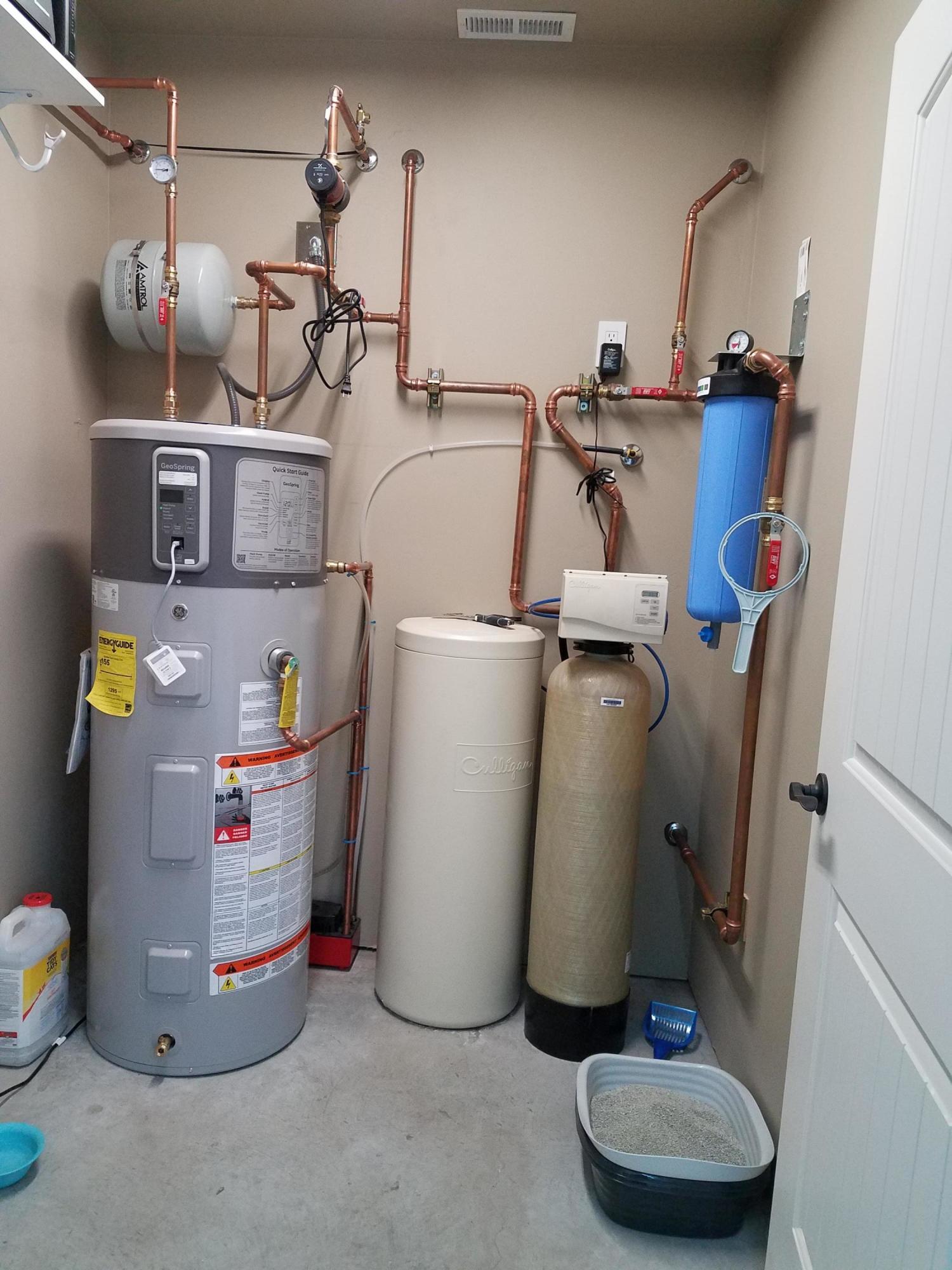 Water heater, filter, softener
