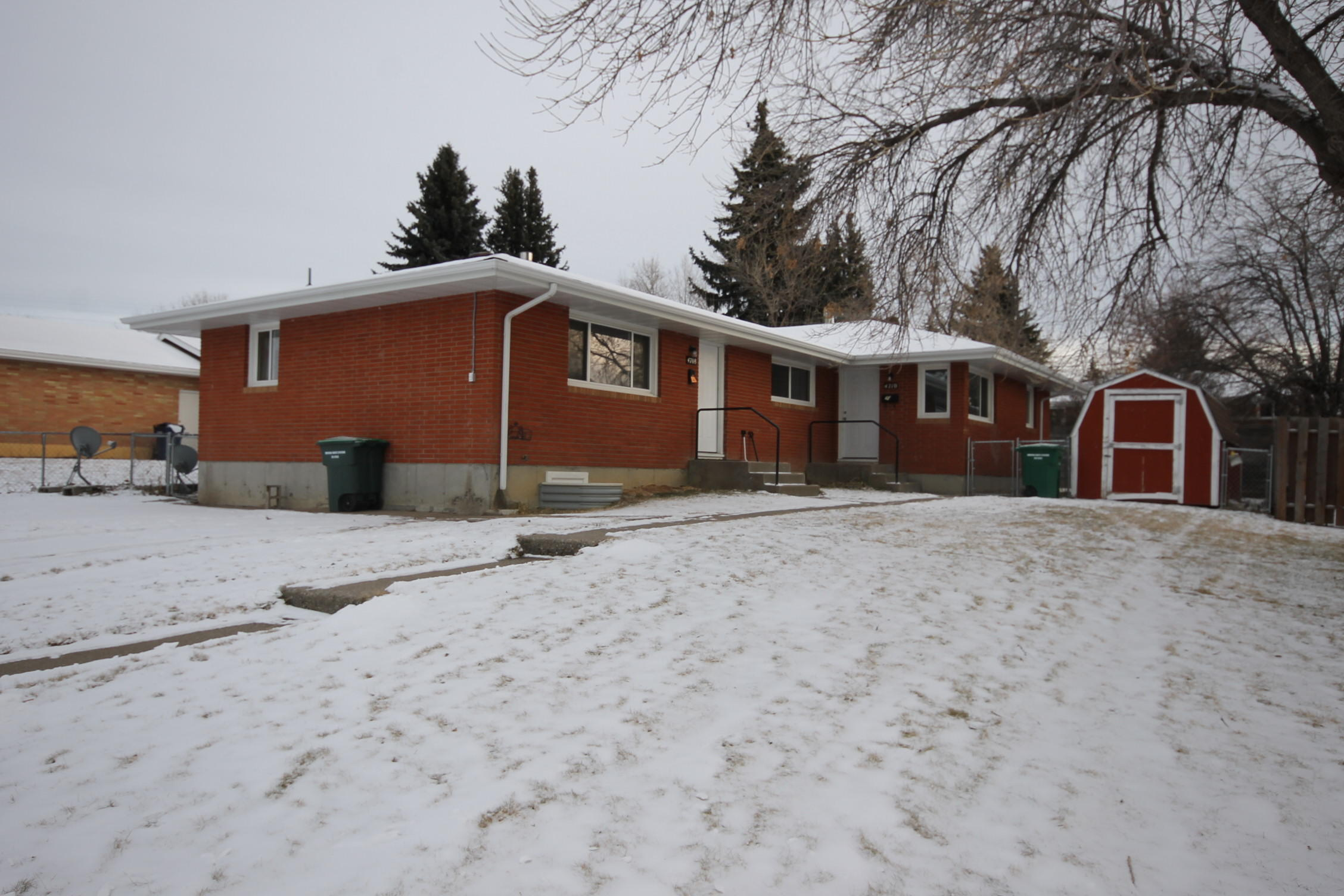 This is the one!! Brick side by side duplex on East end of town. Unit 4710 has been remodeled with new kitchen, flooring and paint. Unit 4710 has 3 beds and 2 baths, fenced back yard and shed. Unit 4708 has 2 bedrooms, 1 bath and unfinished basement  with an egress window already installed. Maintenance free soffit and fascia, upgraded windows, separately metered electric and gas.  2 off street parking spaces. Move in one side and rent the other or rent both sides! Buyer to verify square footage.