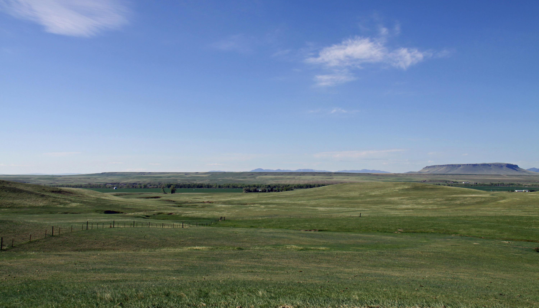 View, blue sky, prairie, Square Butte