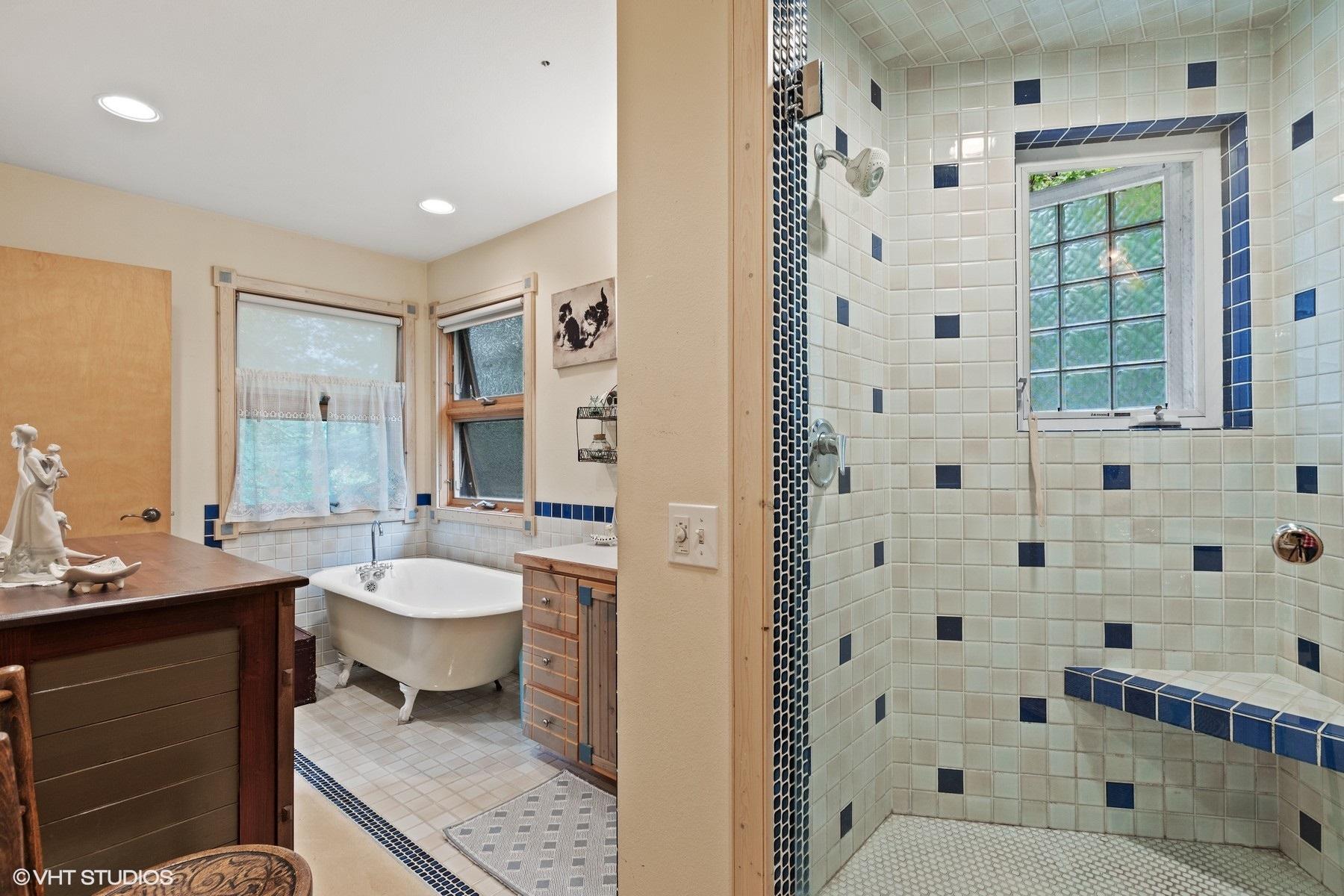 Tiled steam shower