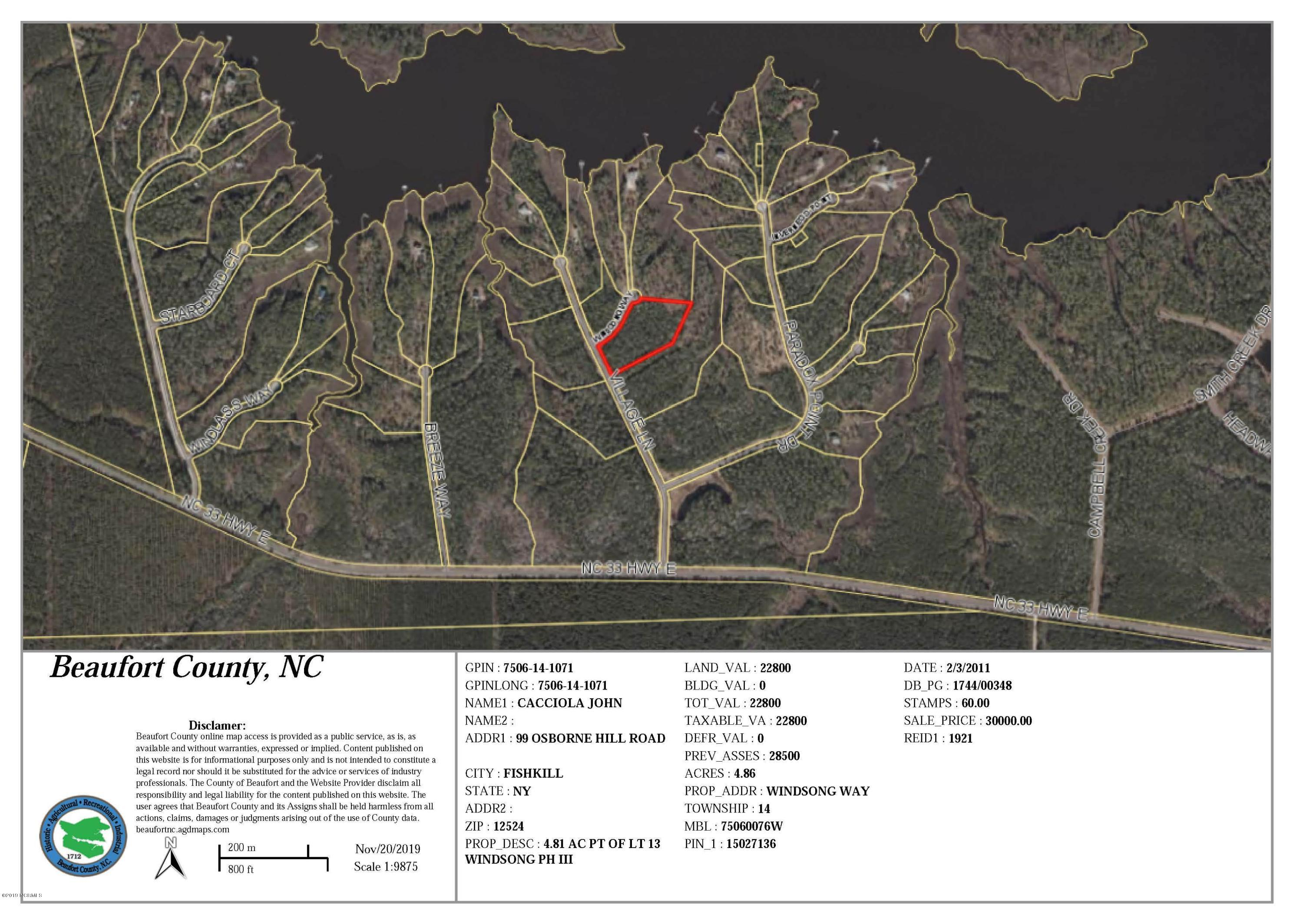 102 Windsong Way, Aurora, North Carolina 27806, ,Residential land,For sale,Windsong,100197757