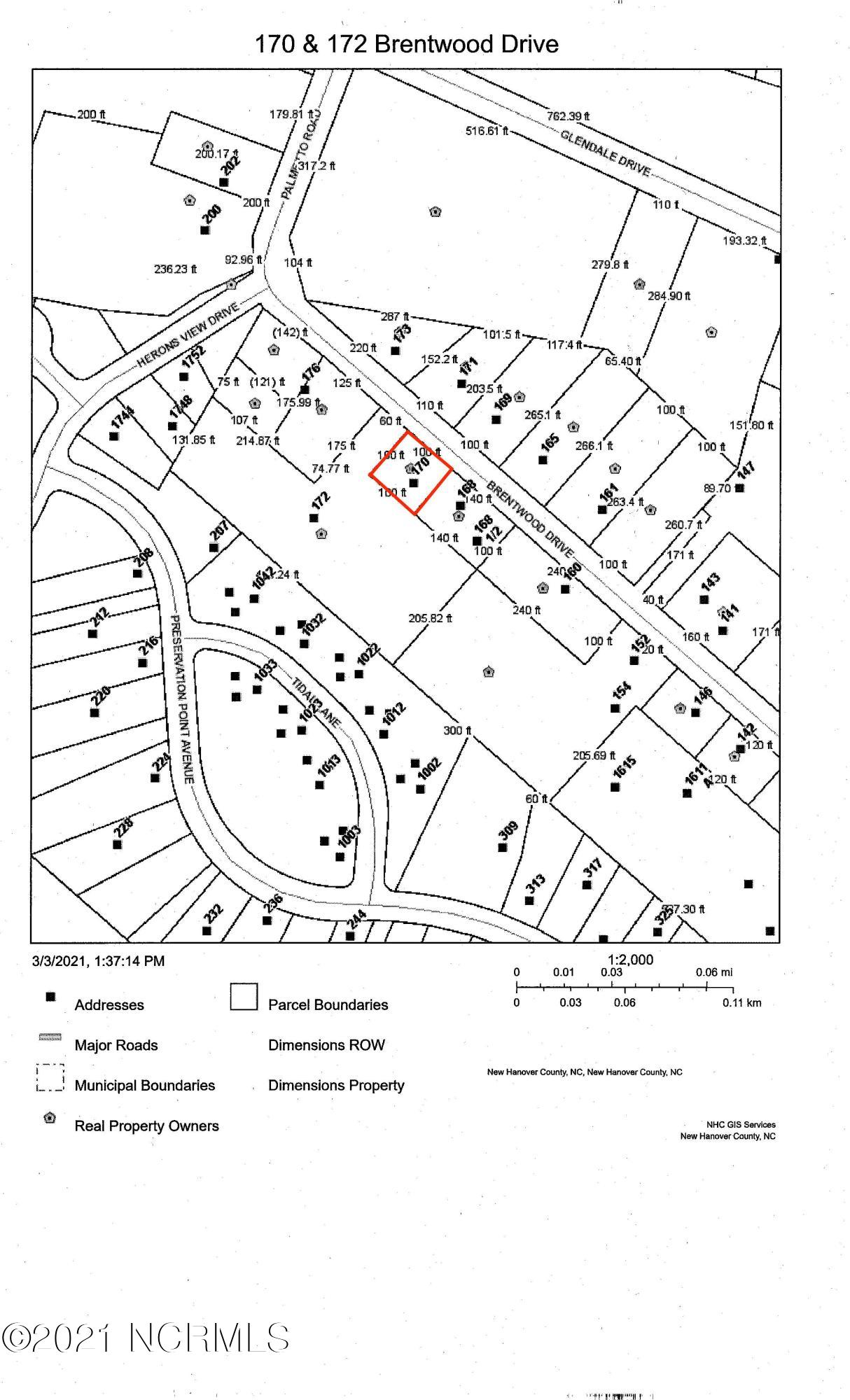 170 Brentwood Drive, Wilmington, North Carolina 28401, ,Residential land,For sale,Brentwood,100260097