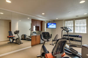 Excercise room is modern and ready.