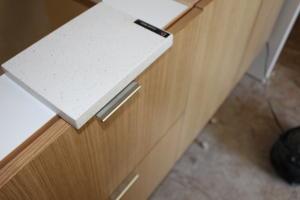 Master bath quartz counter and cabinet