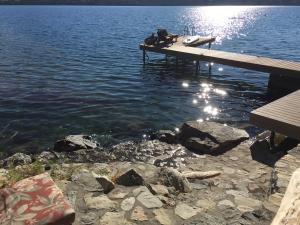 Stone steps to lake