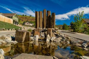 Saska Hills Basalt Fountain Entry