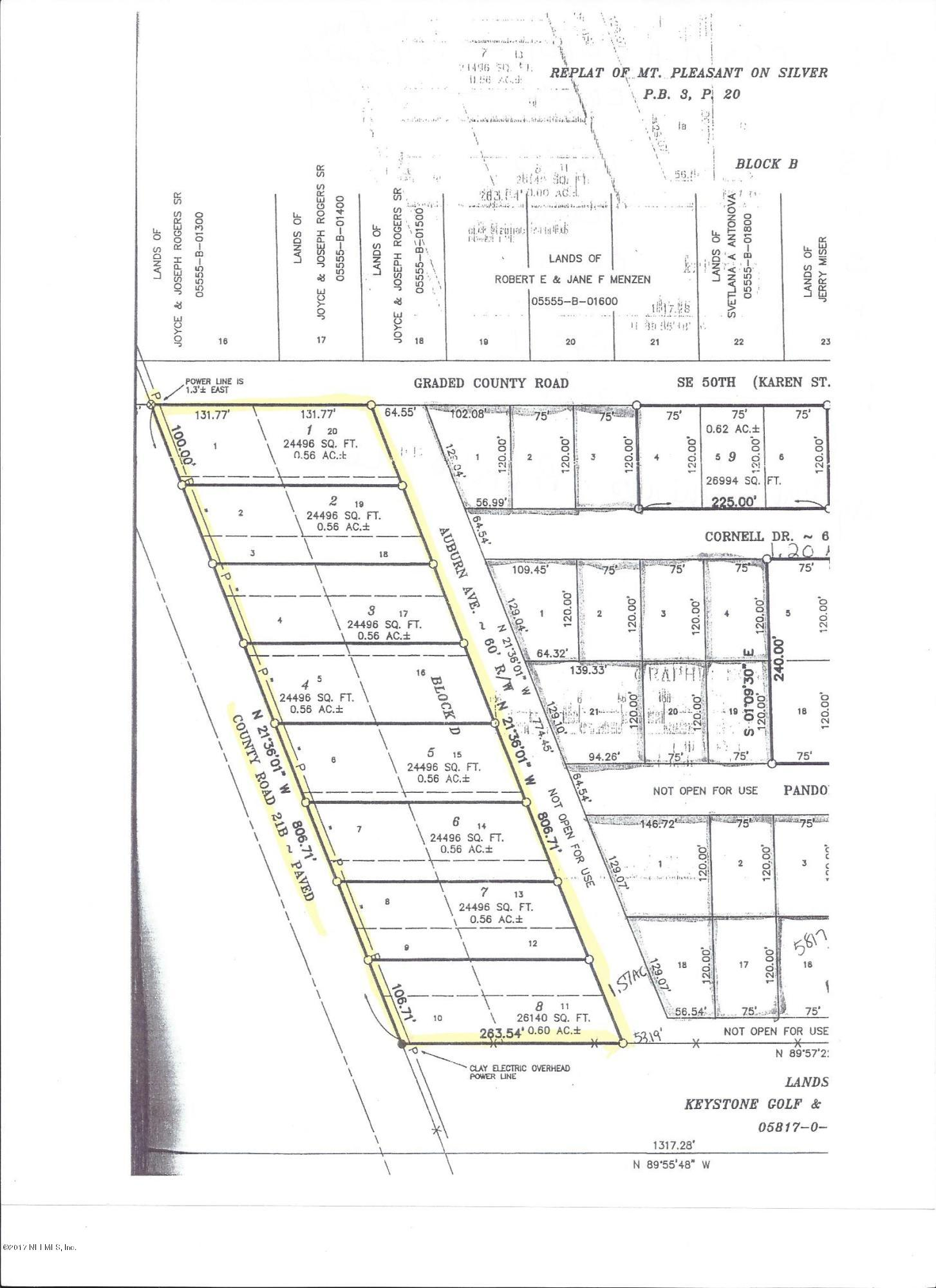 LOT # 3 21B / 8TH, KEYSTONE HEIGHTS, FLORIDA 32656, ,Vacant land,For sale,21B / 8TH,873609
