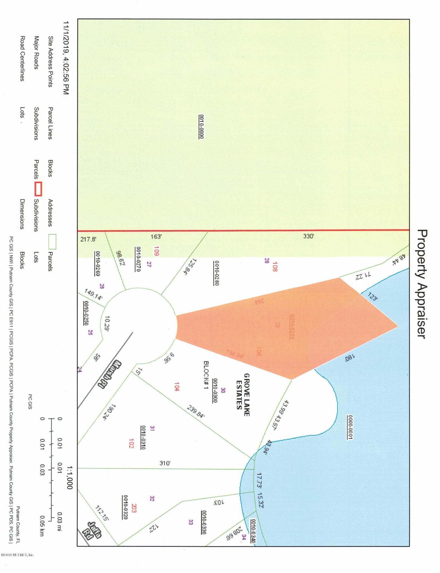 106 MARSH, CRESCENT CITY, FLORIDA 32112, ,Vacant land,For sale,MARSH,1023519
