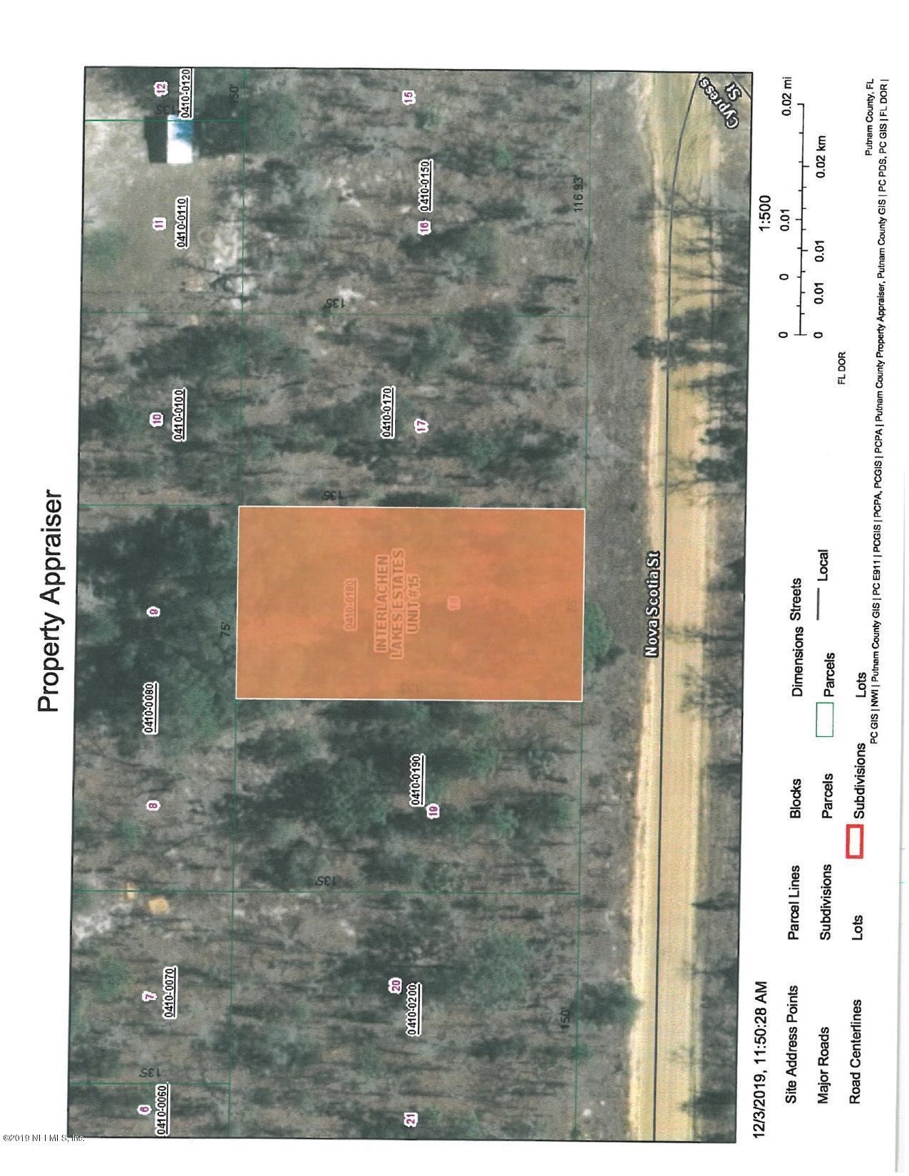 104 NOVA SCOTIA, INTERLACHEN, FLORIDA 32148, ,Vacant land,For sale,NOVA SCOTIA,1027755