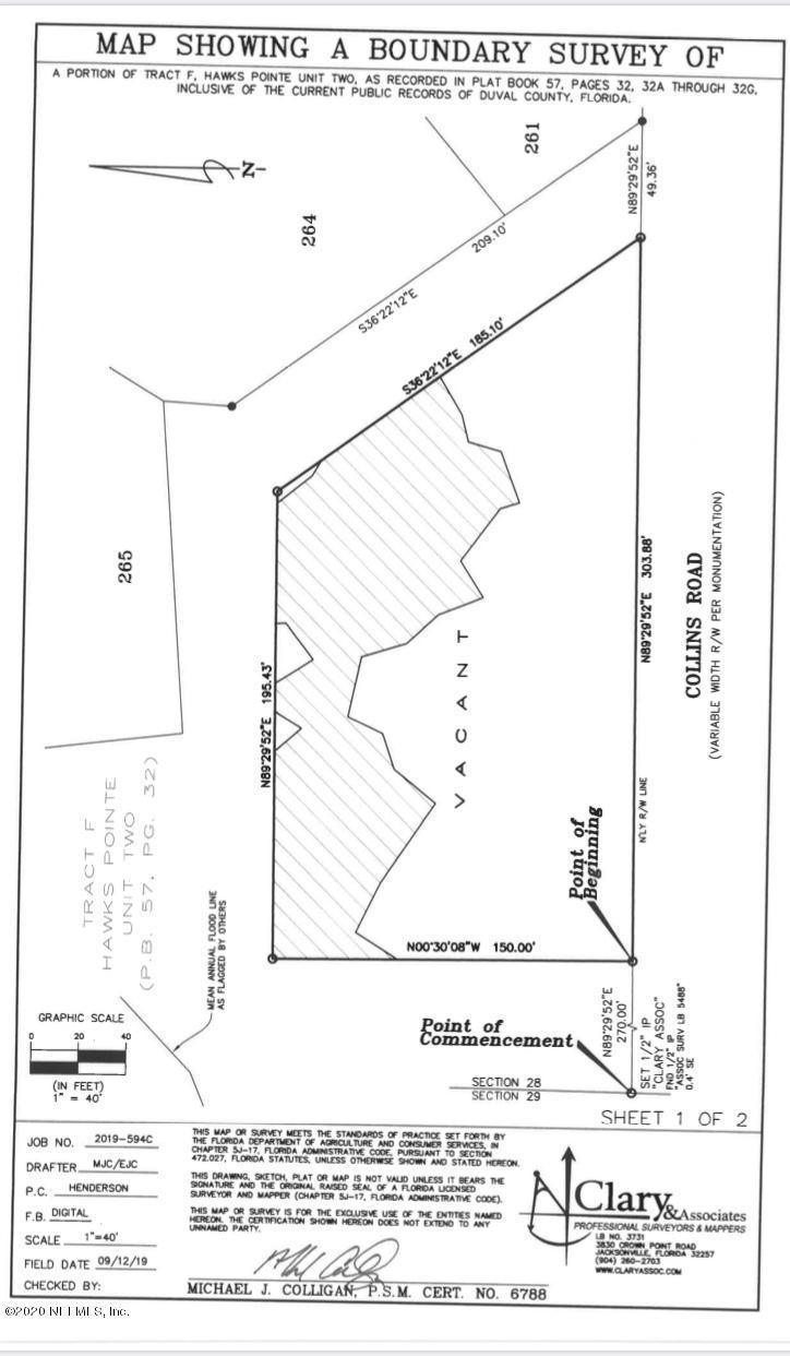 9203 COLLINS, JACKSONVILLE, FLORIDA 32222, ,Vacant land,For sale,COLLINS,1053496