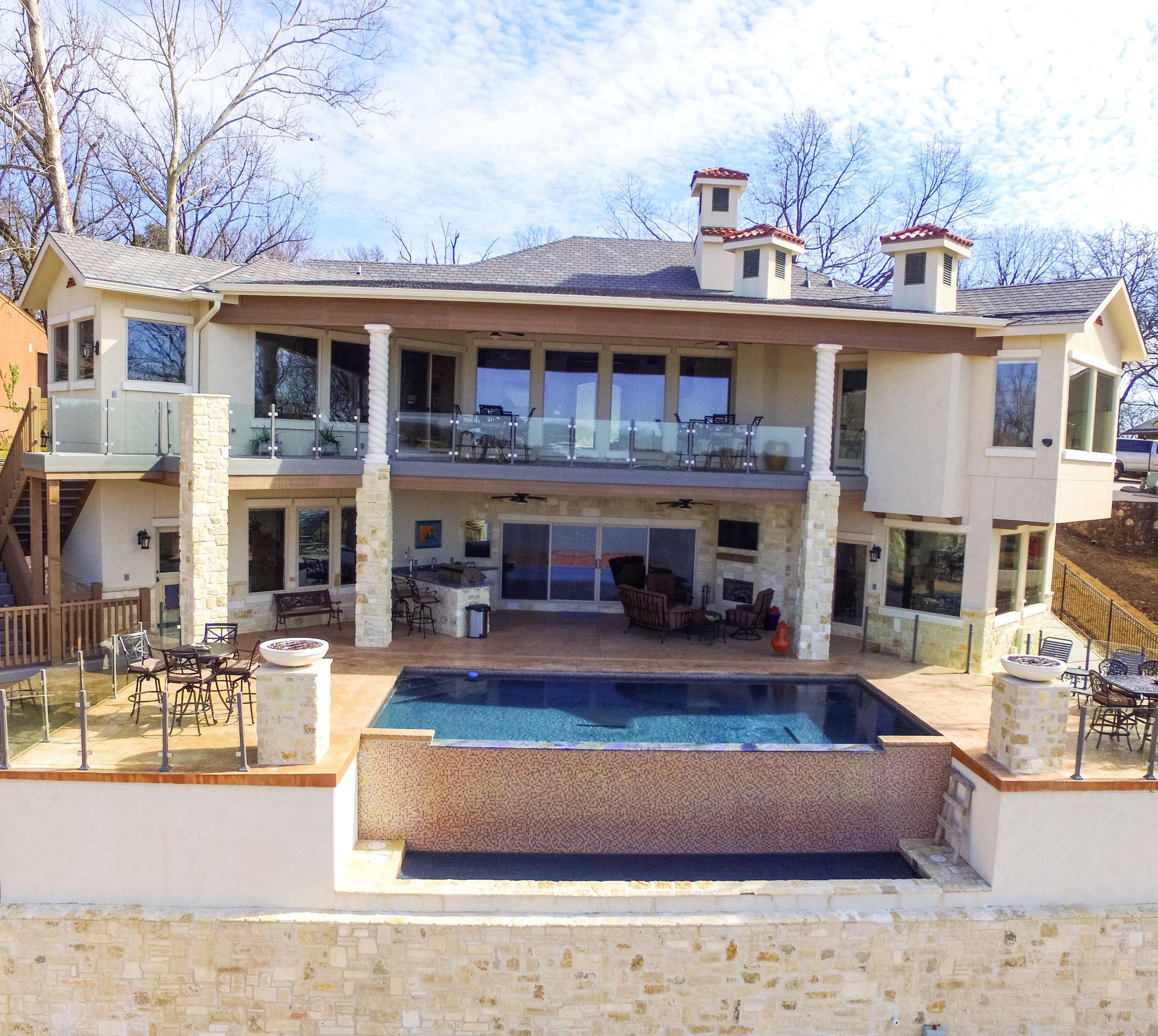 House Back Pool And Waterfall