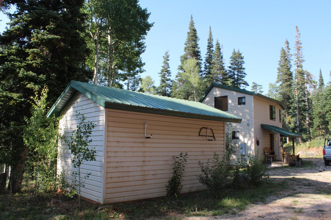 Furnished cabin nestled back in the trees on 4+ acres.Lots of privacy all in tall aspen & pine trees. Property includes 4 building lots. Cabin has 2 bedrooms 2 baths w/open loft. Modern kitchen with custom cabinets. Large great room. Also includes 2 storage sheds for all your toys.  Turnkey ready.