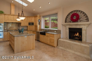 Gourmet Kitchen With Fireplace