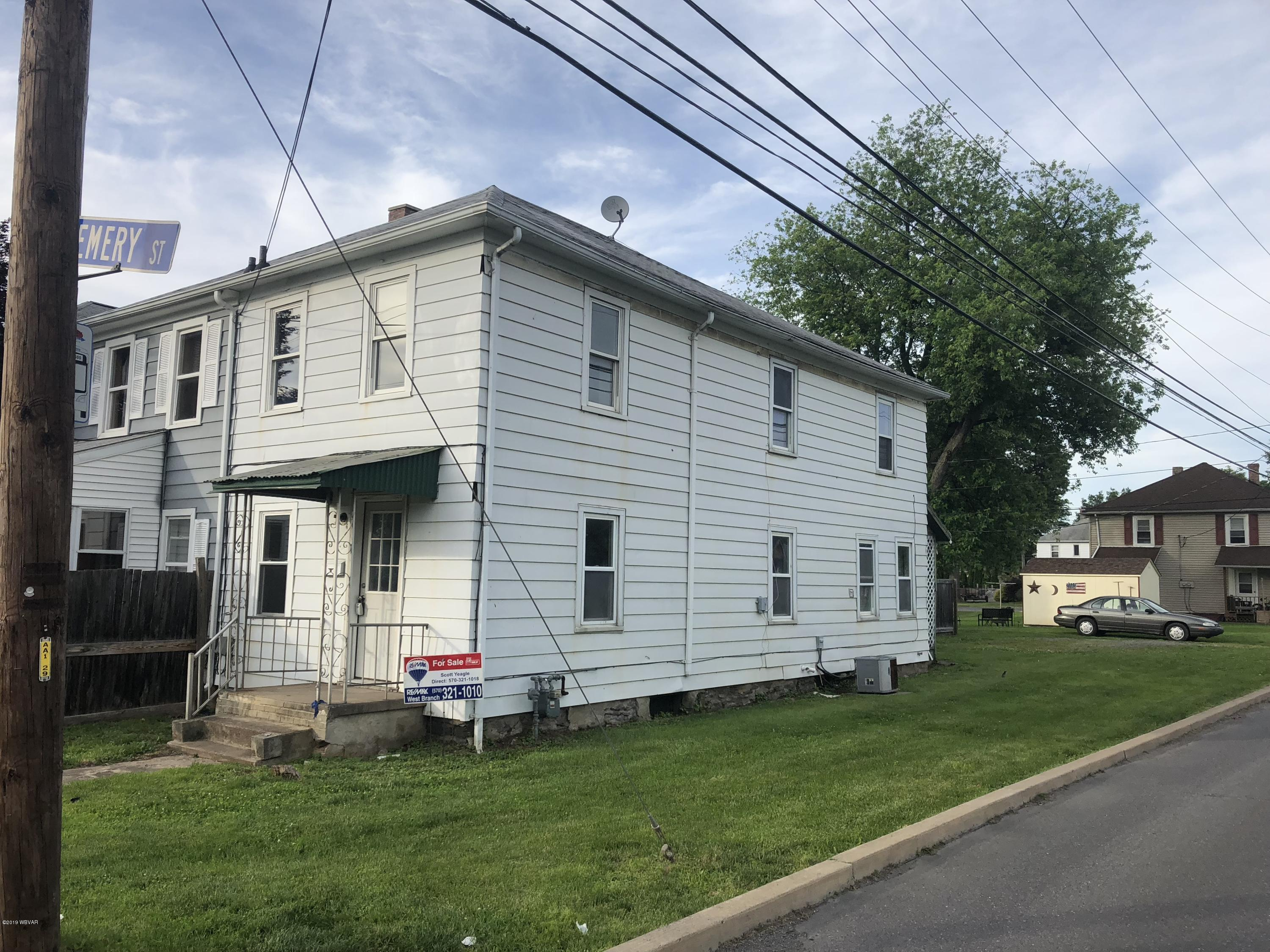 100 EMERY STREET,Williamsport,PA 17701,3 Bedrooms Bedrooms,1 BathroomBathrooms,Residential,EMERY,WB-86282