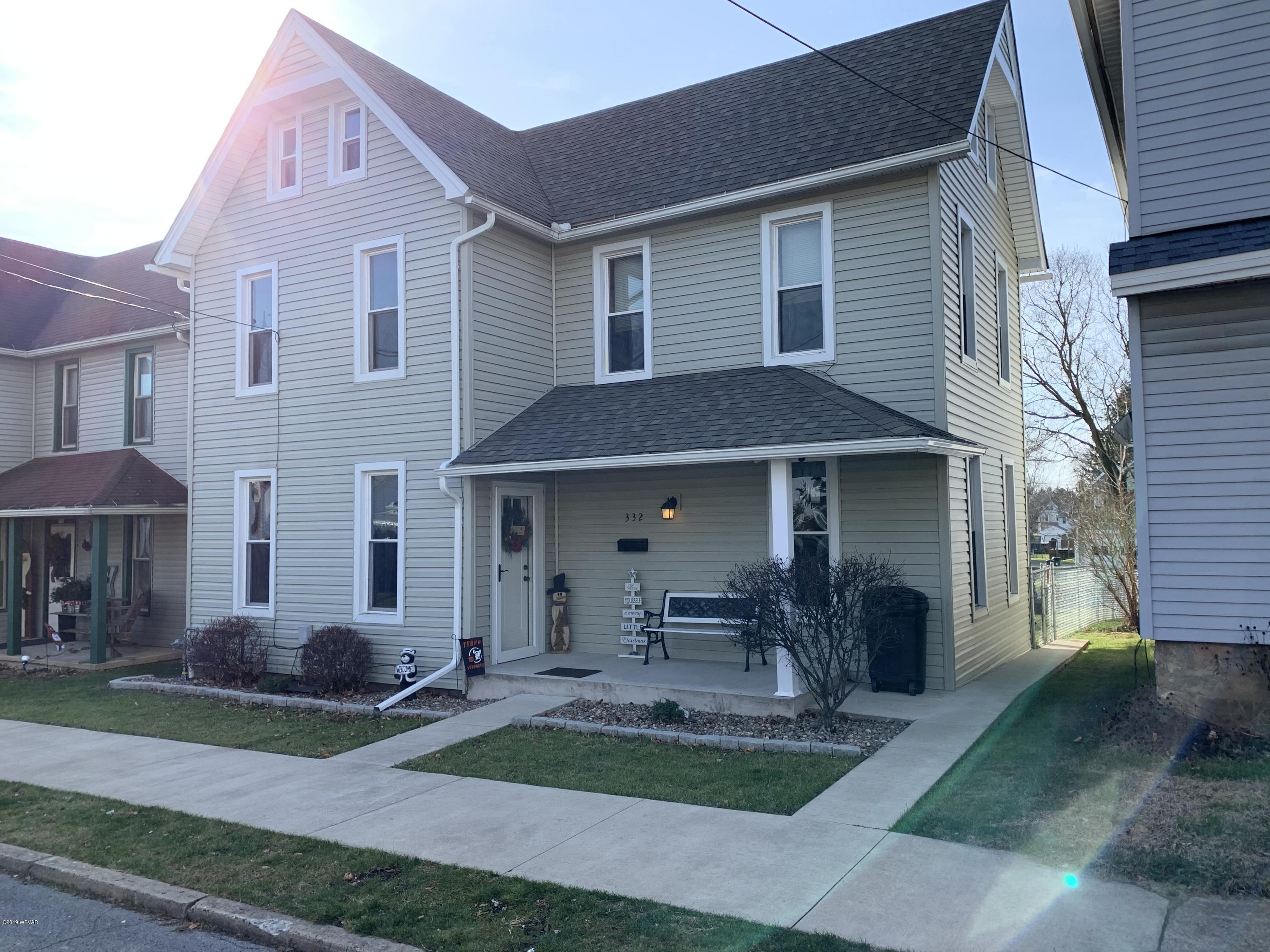 332 GLOVER STREET,Jersey Shore,PA 17740,3 Bedrooms Bedrooms,1 BathroomBathrooms,Residential,GLOVER,WB-89237