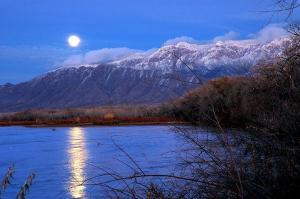 River and Sandias in Winter