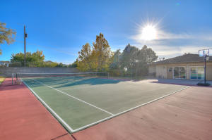 Tennis Court facing Garage Area