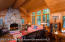 Wood burning fire place graces the great room
