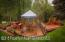 A panoramic view of the garden deck & hot tub.