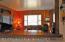 thru kitchen bar to living room