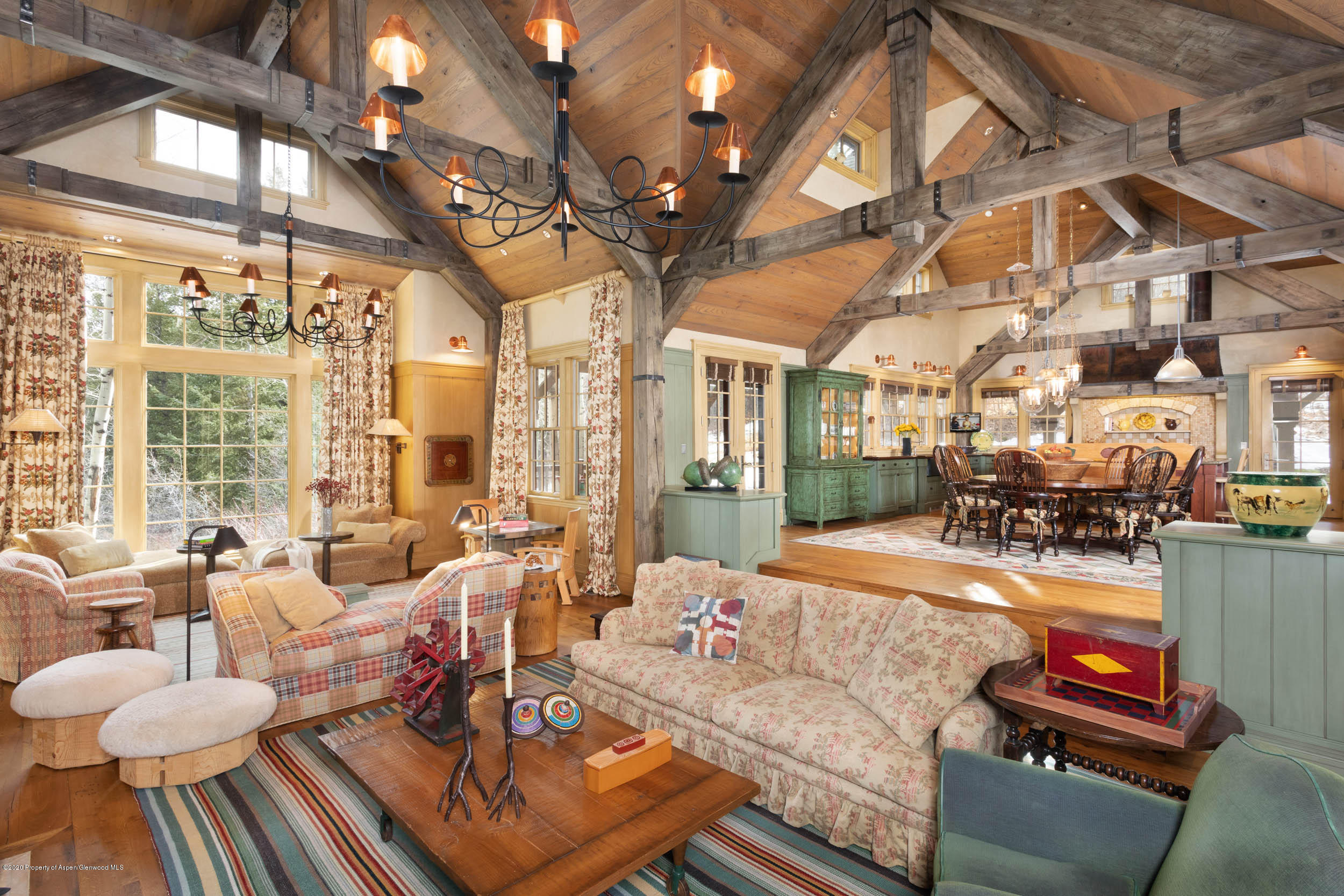 French oak ceilings; woodburning fireplace. Reclaimed wood floors and beams.
