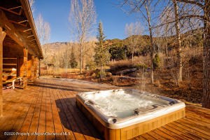 Back deck with new hot tub