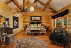 Master bedroom w/ vaulted ceilings