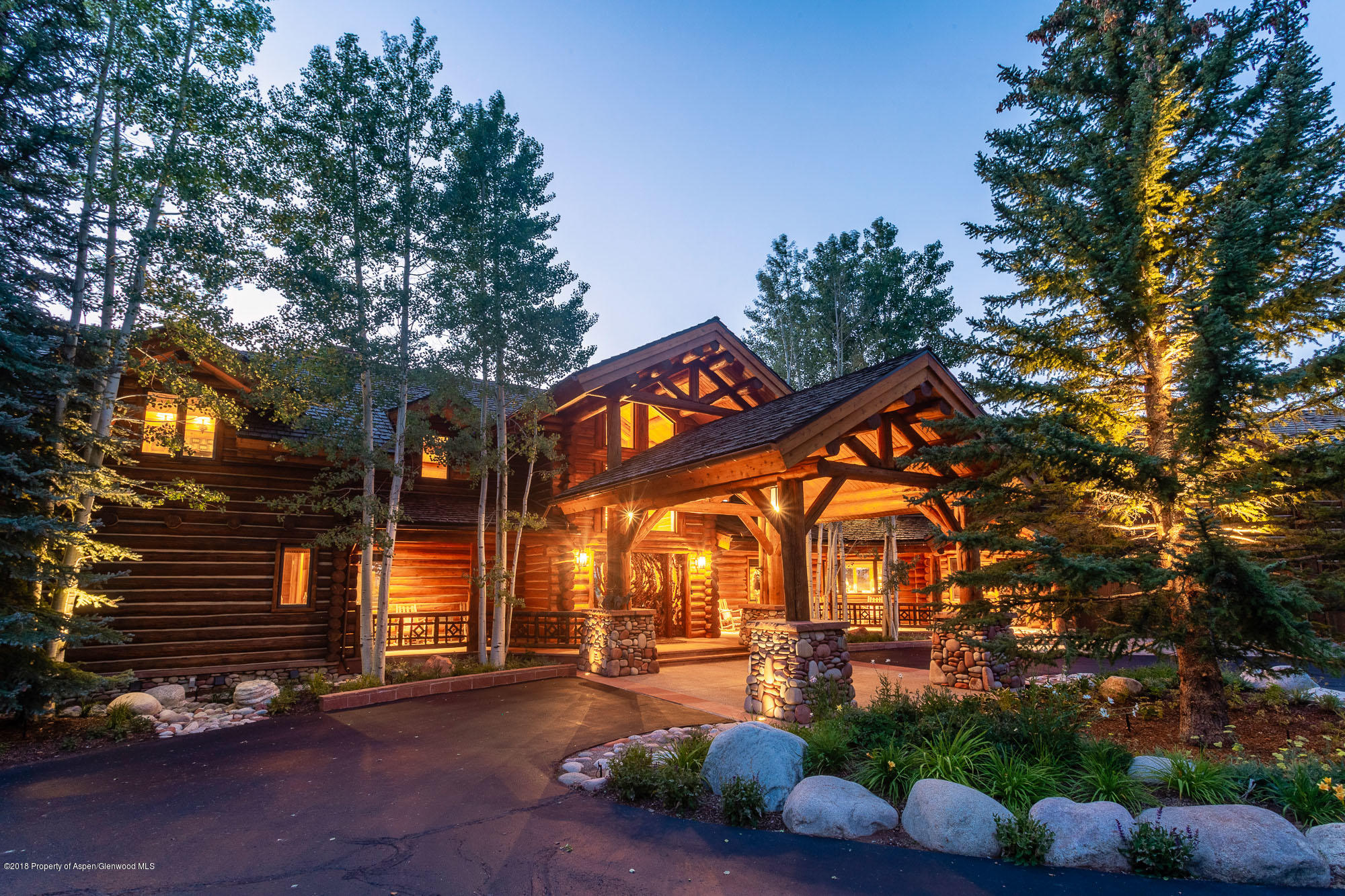Timeless Mountain Estate for All Seasons. Luxury, privacy and spectacular views are simply unparalleled in this custom log home in the exclusive neighborhood of Eagle Pines, only 10 minutes from downtown Aspen. Sweeping views of the Owl Creek meadows framed by the Elk Mountain Range and Mt Sopris are enjoyed from every room of this extraordinary home. Two heated stone terraces and spacious grounds of 4.5 acres are perfect for taking in gorgeous sunsets and entertaining in complete privacy. This 11,170 sq. ft. home features 6 en-suite bedrooms, an exceptional bunk room that sleeps 12, a media room, western bar/game room, climate-controlled wine room, private office and heated three car garage. Surrounded by world class biking, hiking, downhill and Nordic ski trails, the Lodge at Eagle Pines is the ultimate retreat for enjoying the quintessential mountain life!