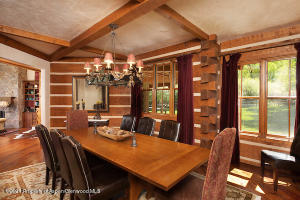 Charming chinked wood dining room
