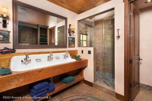 Guest bath with farm style sink