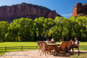 Spacious outdoor patio with remarkable views of Seven Castles