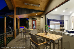 Outdoor seating open from the kitchen