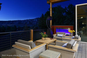 Outdoor entertainment with fireplace