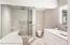 Main Bathroom w/air jet tub, steam shower, bidet toilet, heated towel rack. makeup vanity cabinet