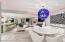 vintage Murano glass chandelier and Saarinen marble top *Tulip* table.